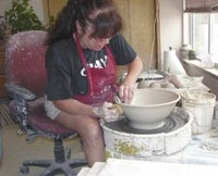 Susan Adams works on the Potters Wheel