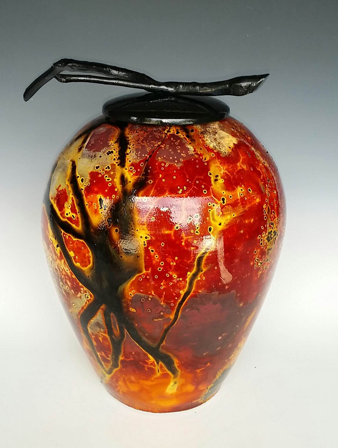 Raku pot by Peter Roussel