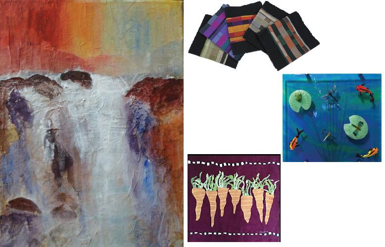 Cascades waterfall, by Dottie Moniz, My Garden, by Becky Wanless, Mary Wonser, table runners, Marily Badger glass art