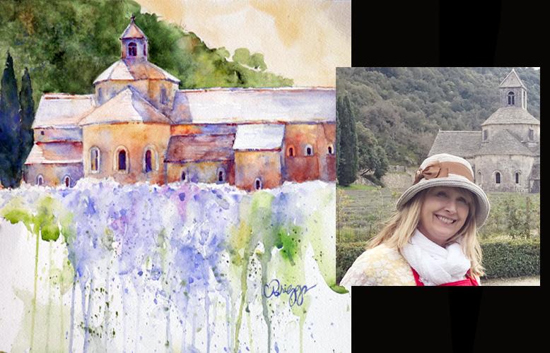 Cindy Briggs Painting Abbey de Senanque in Provence