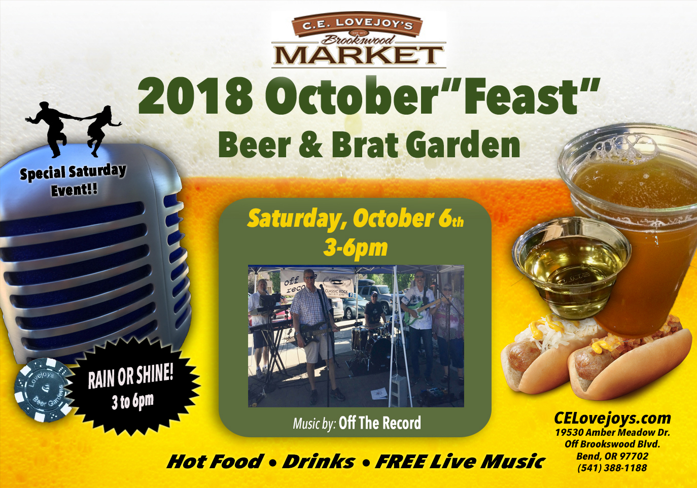 "October""Feast"" Beer & Brat Garden with Live Music @ C.E. Lovejoy's Brookswood Market 