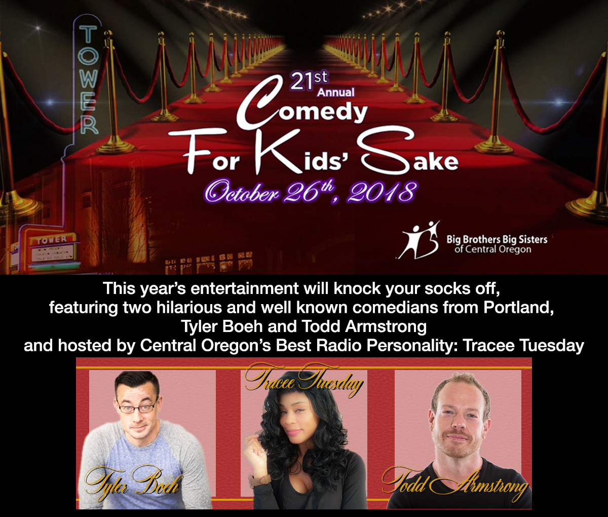 Comedy For Kids Sake @ Tower Theater | Bend | Oregon | United States