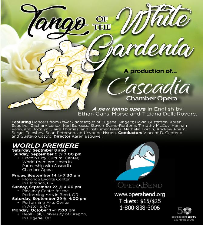"""OperaBend and Cascadia Chamber Opera presents """"Tango of the White Gardenia"""" @ Pinckney Center for the Arts @ the COCC Campus 
