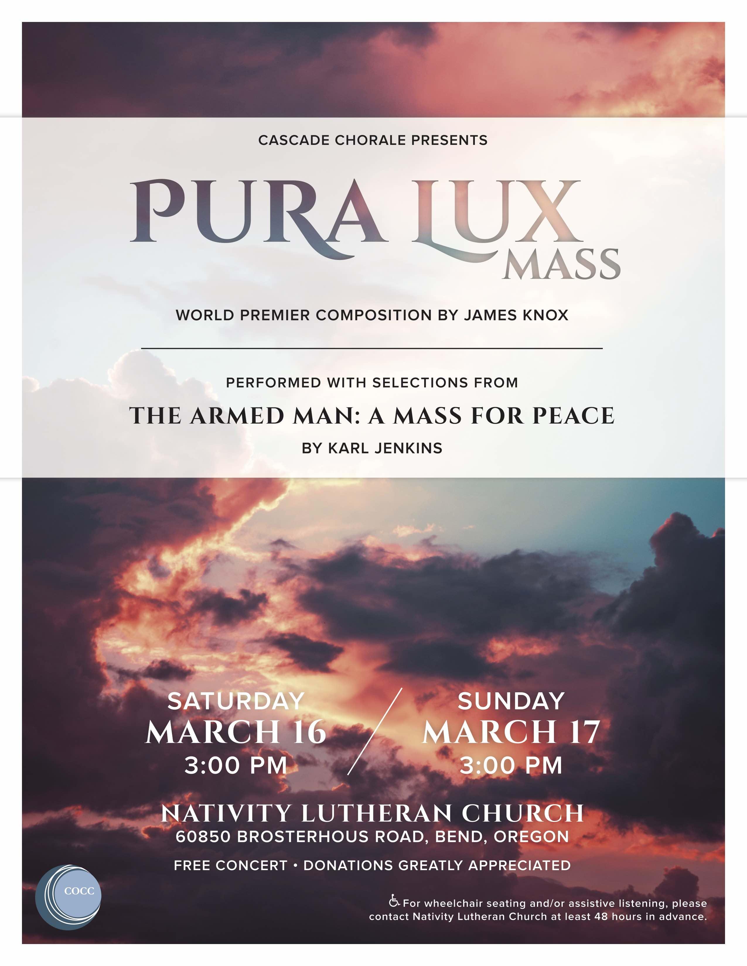 Cascade Chorale Present Pura Lux (Pure Light) @ Nativity Lutheran Church