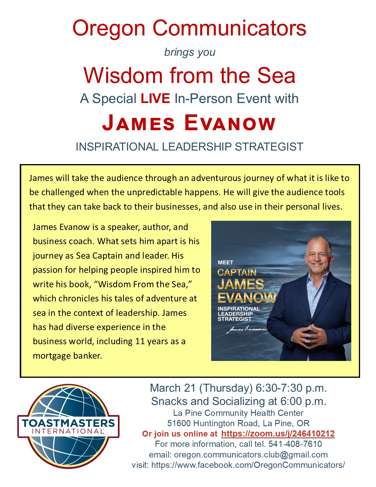 Oregon Communicators brings you Wisdom from the Sea with James Evanow @ La Pine Community Health Center Meeting Room