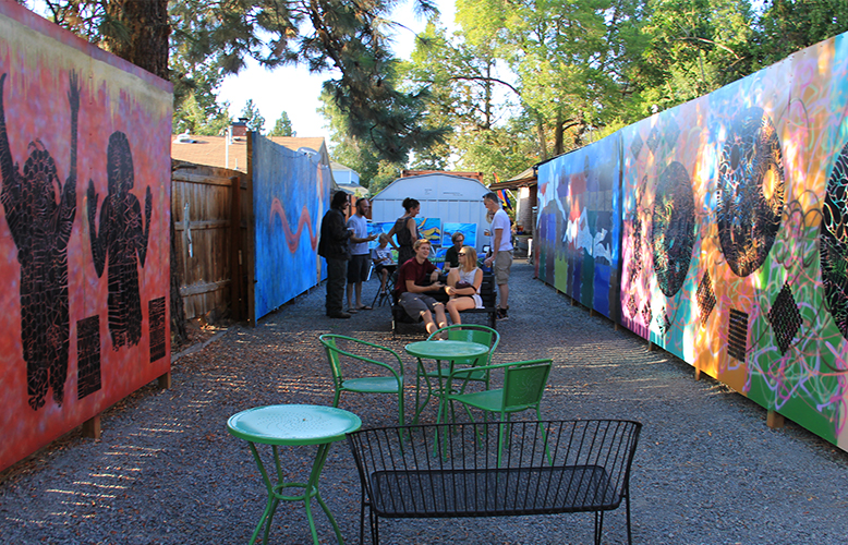 Mid Town Art Alley features 50, 25 & 15 foot walls for artists to create on. Photo by Krystal Marie Collins.